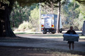 Stephen loves waiting for the delivery man!  He even came to our campsite with a new box for the roof of the car