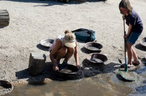 Panning and digging for gold!