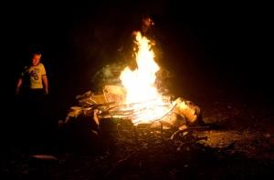 Enjoying a campfire again
