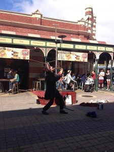 Fremantle.  These places always have street shows but why do the entertainers persist in being rude and a little unfamily friendly ....