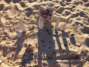A memorial we made just before leaving the beach for Kathreen and Rob - RIP our friends