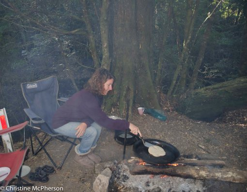 Pancakes over the fire.  Using our own mix - the gluten free premixes are terrible!