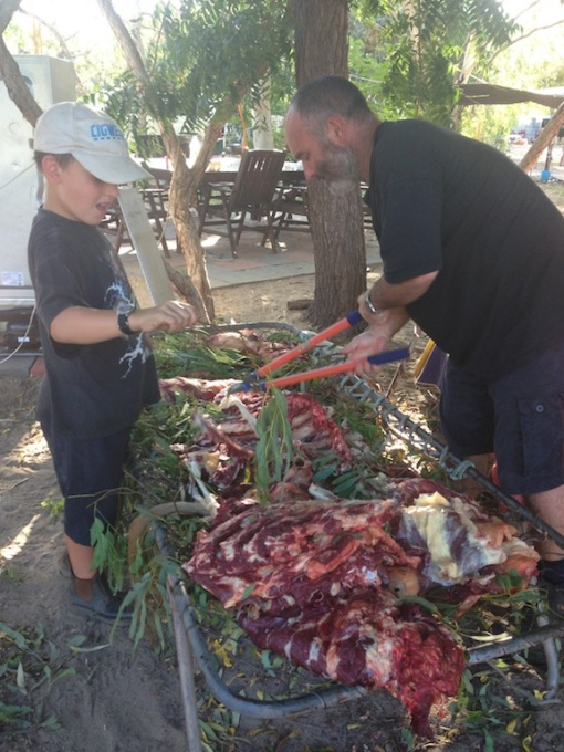 Dan & Stephen helping with the butchering
