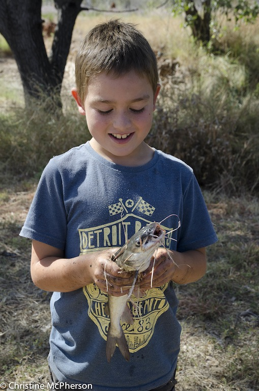 """Dan caught this cat fish out of a """"puddle"""" by hand… and later was """"got"""" by one - and it hurt!"""