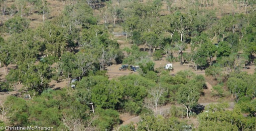 Our campsite seen from the lookout.  We are the blue camper trailer in the middle.
