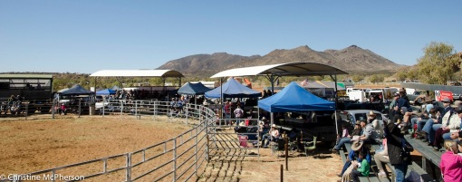 The rodeo arena with the beautiful Harts Range in the background