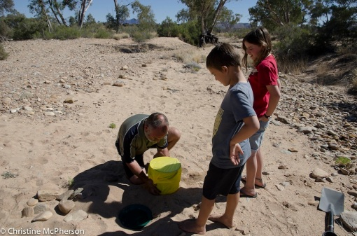 Setting up an experiment to get fresh water from the salty river water - it didn't work :-(