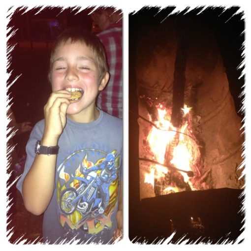 Having Rosie was a great excuse for a fire and S'mores (choc biscuits and cooked marshmallows)