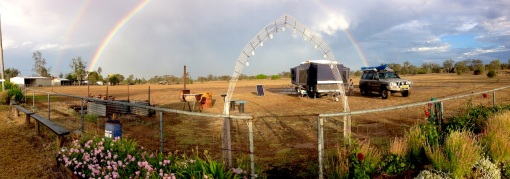 The rainbow and our panorama of our camp at Yelarbon